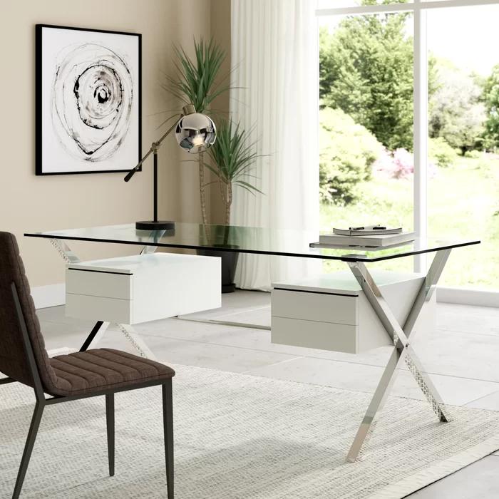 Balhi Suspended Glass Writing Desk In 2020 Glass Desk Office Glass Desk Glass Top Desk