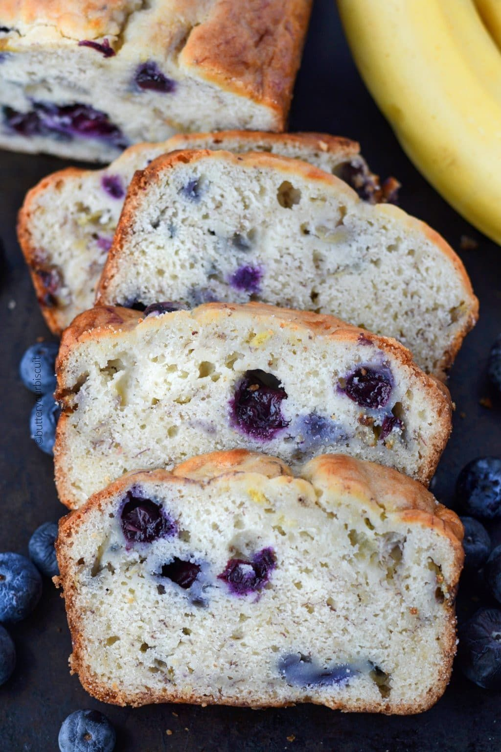 Banana Blueberry Bread With Cream Cheese Butter Your Biscuit Recipe Blueberry Banana Bread Blueberry Bread Recipe Blueberry Bread