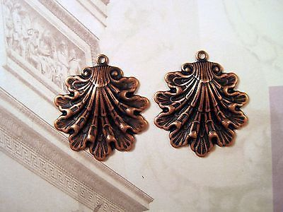 Small Oxidized Copper Shell Charm Stampings 2 COS5144 Jewelry