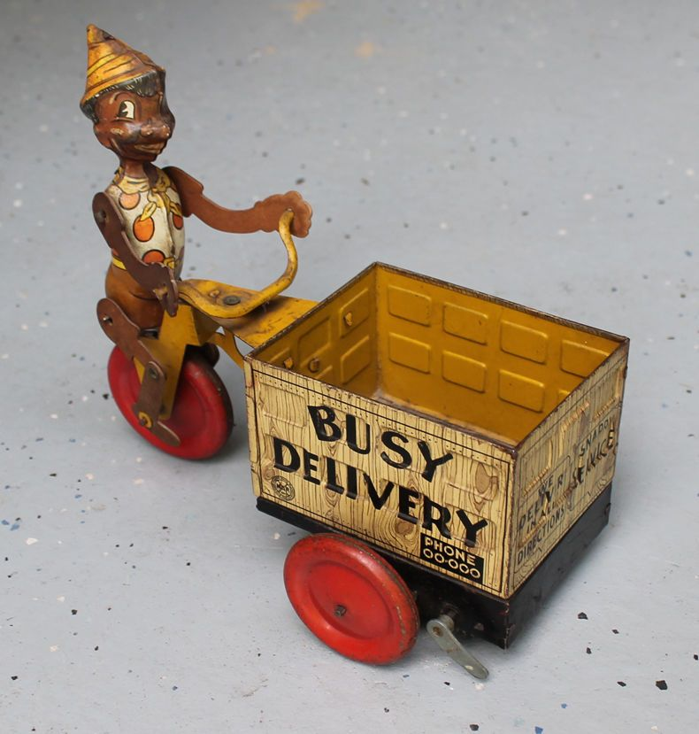 ANTIQUE Vintage Wind Up Tin Toy Marx Busy Delivery Cart Black Americana # Marx