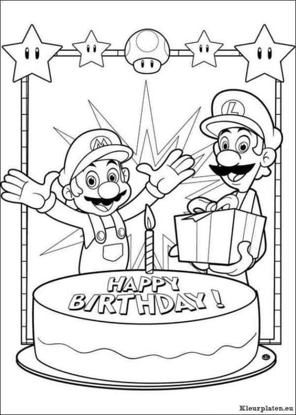 Kleurplaten Mario Bros.Super Mario Bros Kleurplaat Mario Brothers Party Super Mario