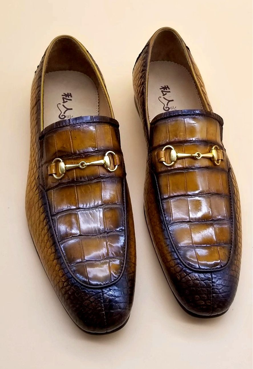 Men's Handmade Alligator Bit Slipon Loafer (With images