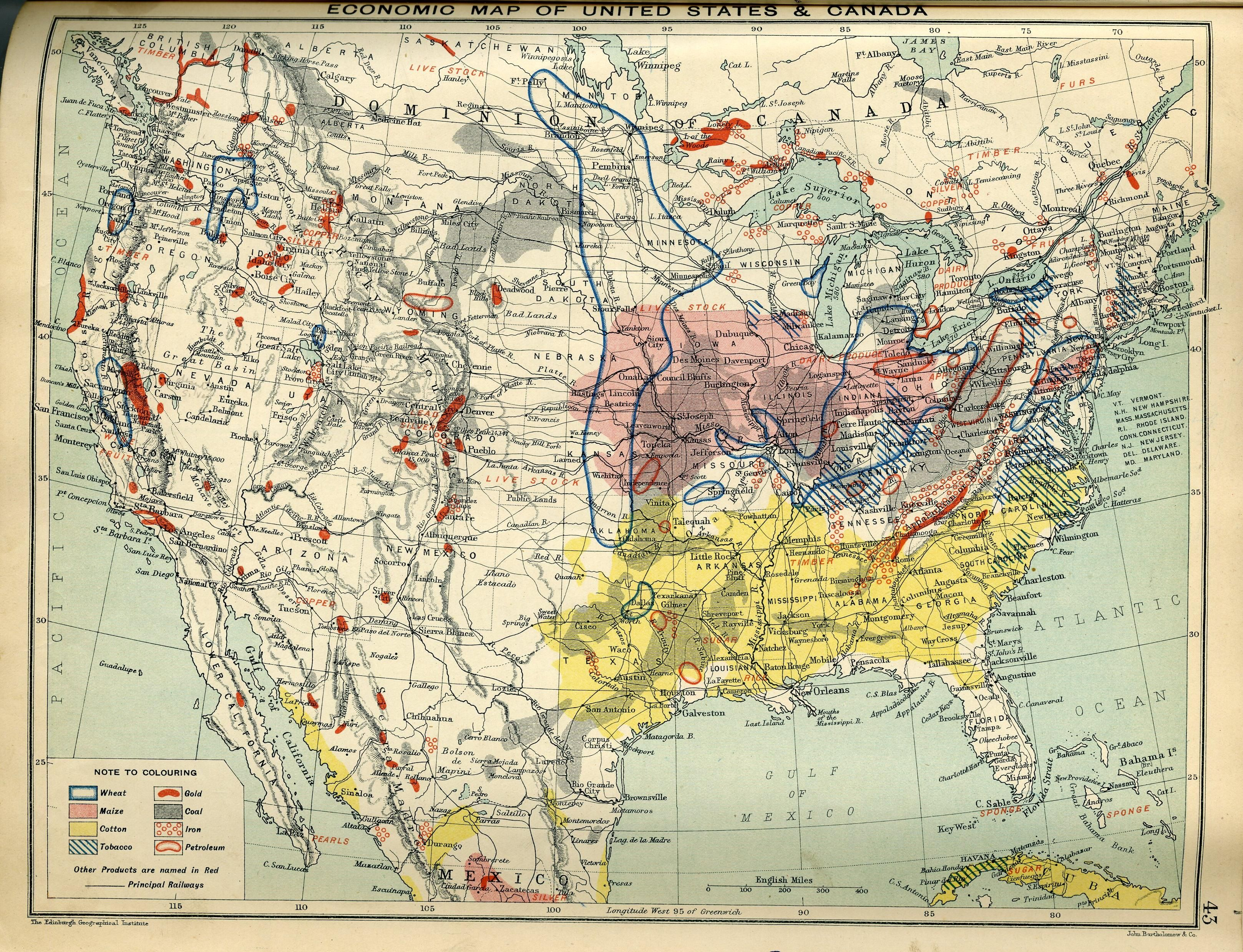 Economic Map of United States and Canada of 1910 #map #usa #canada ...