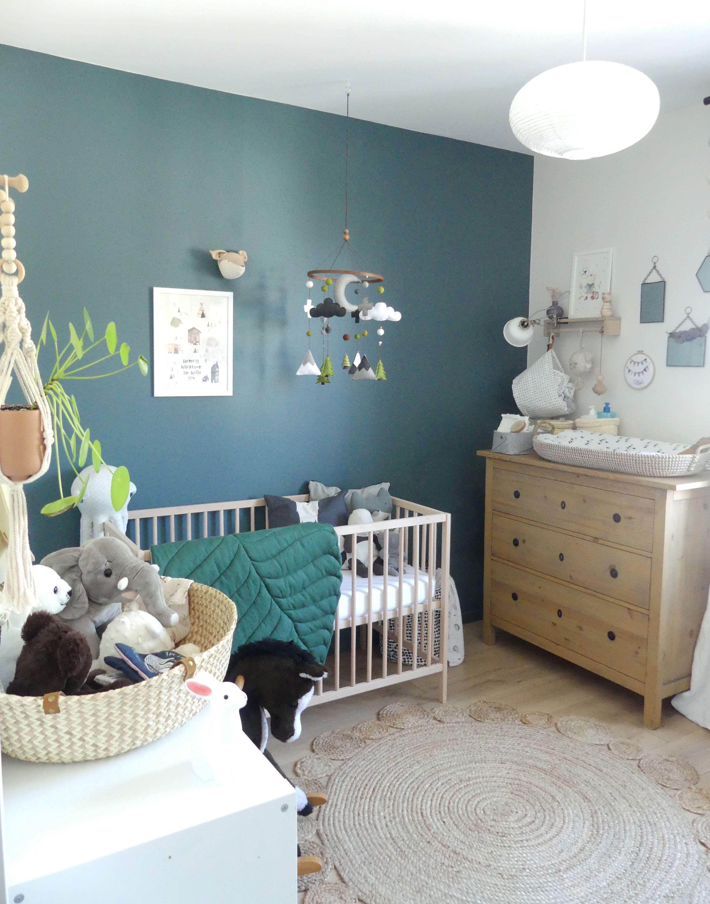 chambre de bébé garçon gris bleu et vert, inspiration scandinave ...