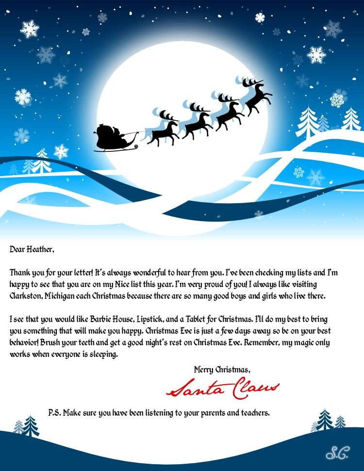 Create A Personalized Letter From Santa Claus  Santa