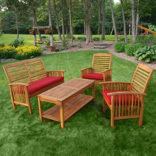 Walker Edison 4 Piece Acacia Patio Conversation Set with Cushions - Conversation Patio Sets at Hayneedle