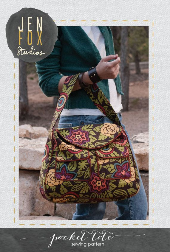 Photo of Sewing Pattern: Pocket Tote PDF download, shoulder bag with exterior pockets, large tote sewing pattern by Jen Fox Studios, optional trim