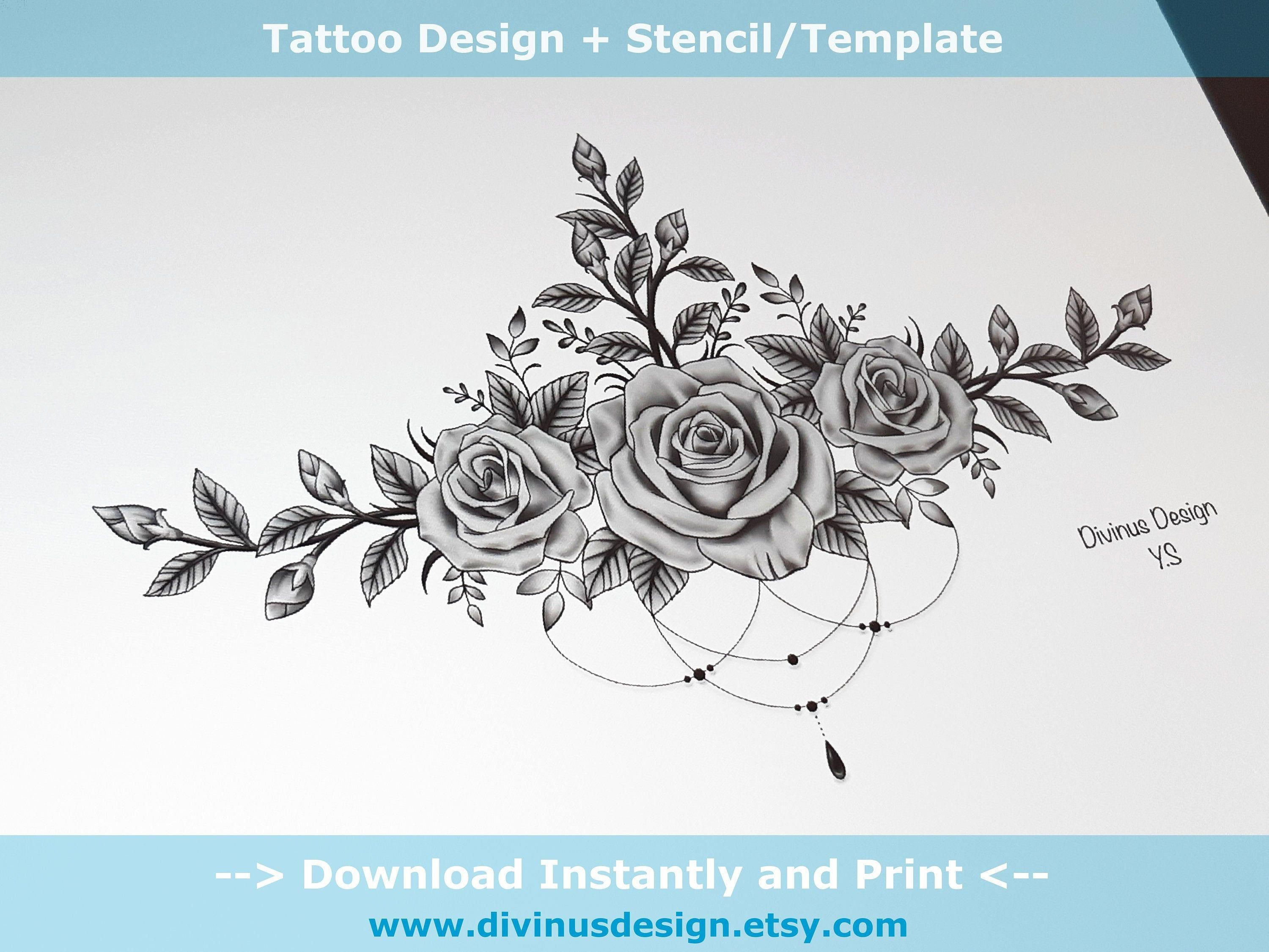 Black and Gray Colored Roses Sternum Tattoo design and | Etsy