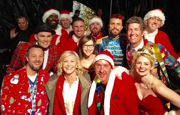 with olivia newton john and band of merrymakers at the 2016 hollywood christmas parade taping. Black Bedroom Furniture Sets. Home Design Ideas