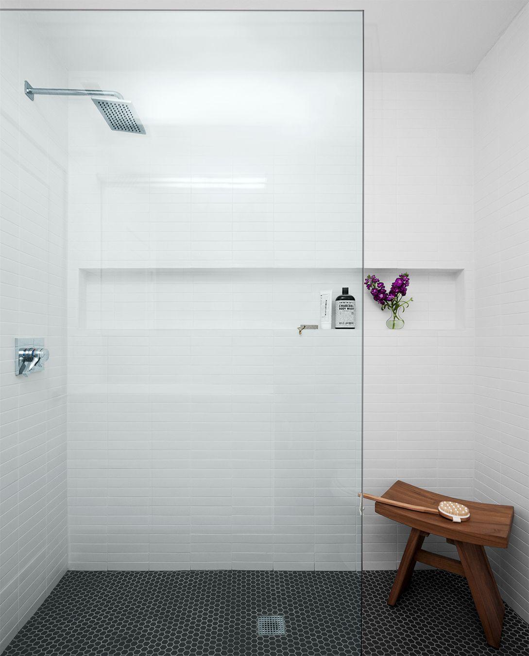 Minimal Contemporary Walk In Shower Panorama Interiors Shower Floor Bathroom Tile Designs Custom Tile Shower