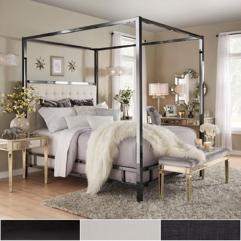 Solivita Queen-Sized Canopy Black Nickel Metal Poster Bed by Inspire Q (Off- White Linen)