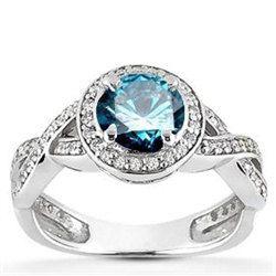 Photo of Forlovelsesring Blue Diamond Infinity 1.00CT Blue Diamond Forlovelsesring Pave Halo Vintage antik stil 14 K hvitt gull Rund blå diamant