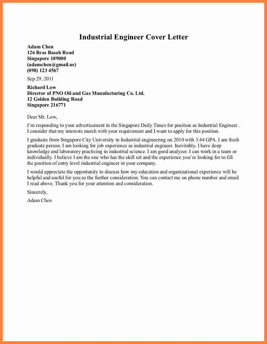 Cover Letter Examples For Engineering Internships Life