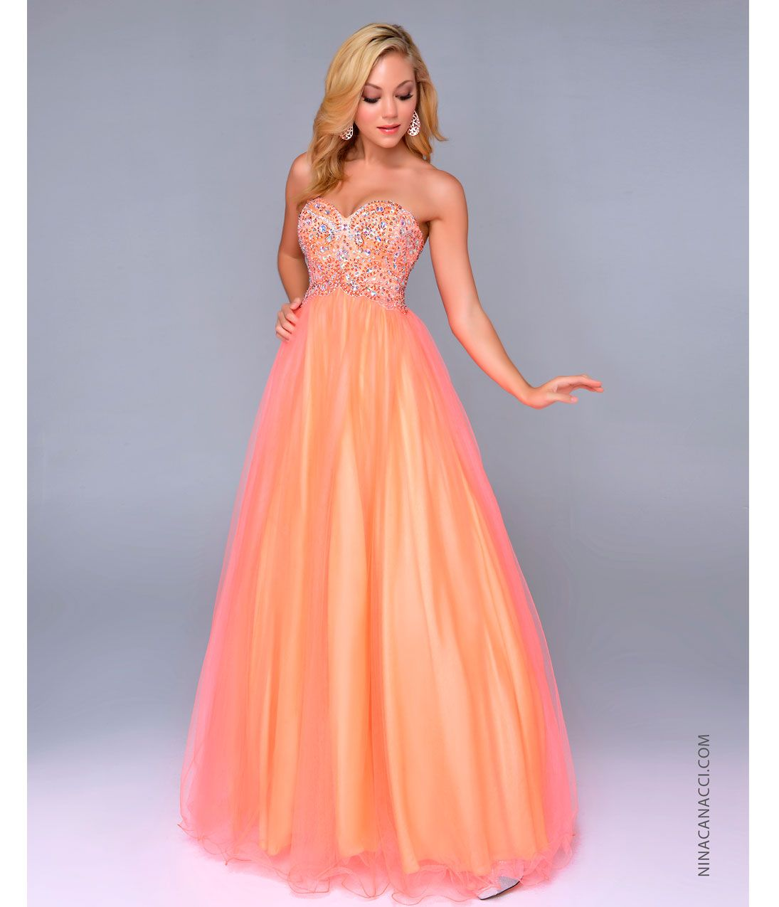 Ball gown prom dresses 2014 - Neon Orange Chiffon Beaded Bodice Ball Gown Uniquevintage Prom