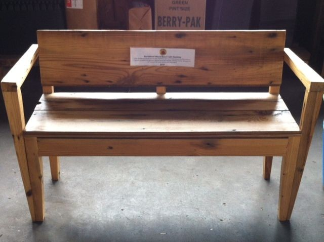 RECLAIMED DETROIT WOODEN BENCH W BACK - This reclaimed wood bench was  recovered and re- - RECLAIMED DETROIT WOODEN BENCH W BACK - This Reclaimed Wood Bench