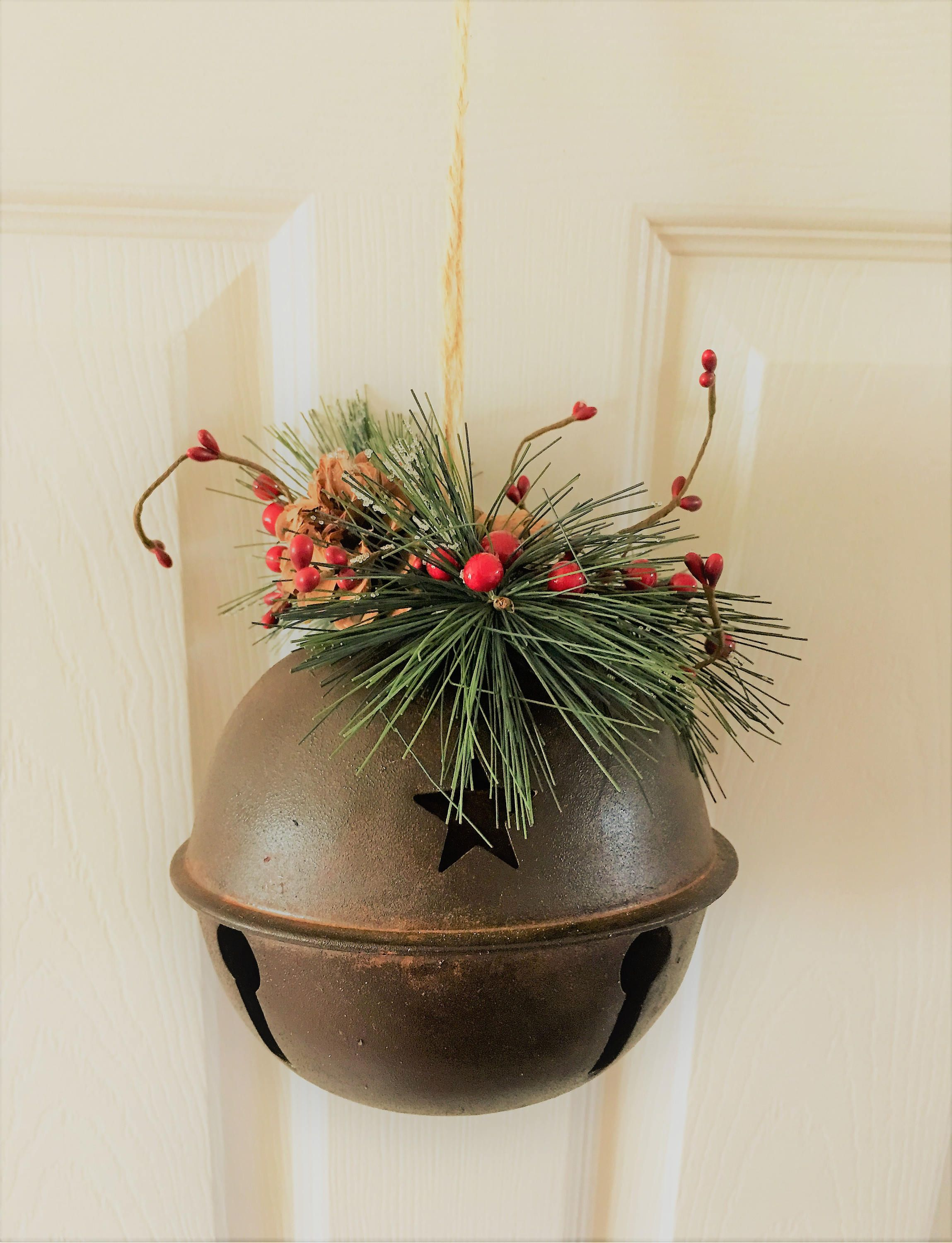 christmas jingle bell decorrustic jingle bellchirstmas bell ornamentlarge rustic jingle
