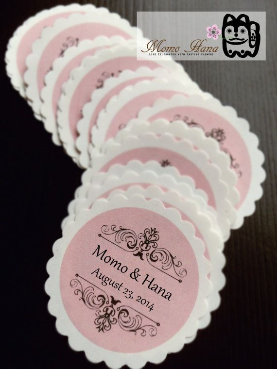 30 Scalloped Circle Labels Favor Stickers Wedding Invitation Gift Wrap Envelope