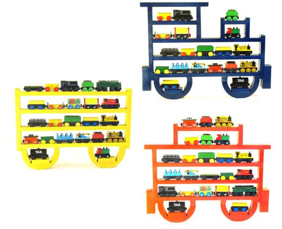 Painted (You Choose Color) Engine, Tender And Caboose Wooden Wall Storage  Train Rack
