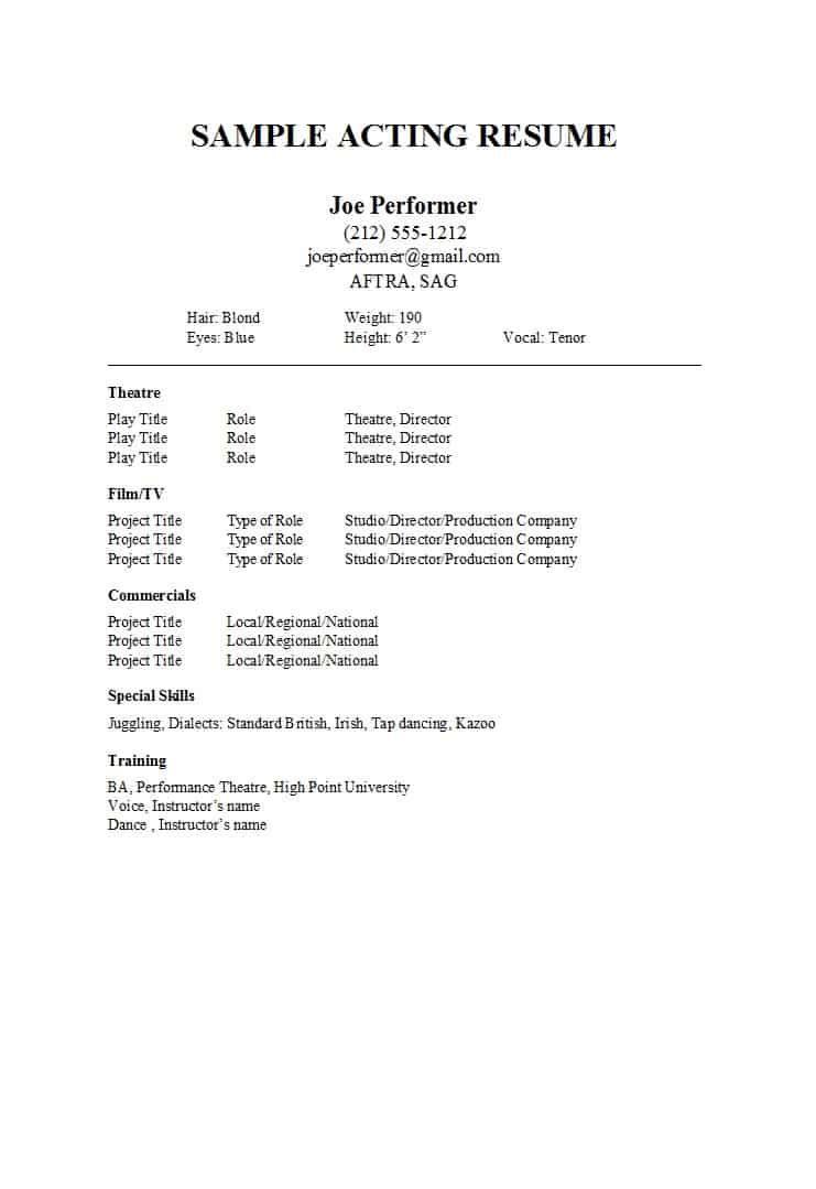 50 free acting resume templates word google docs ᐅ