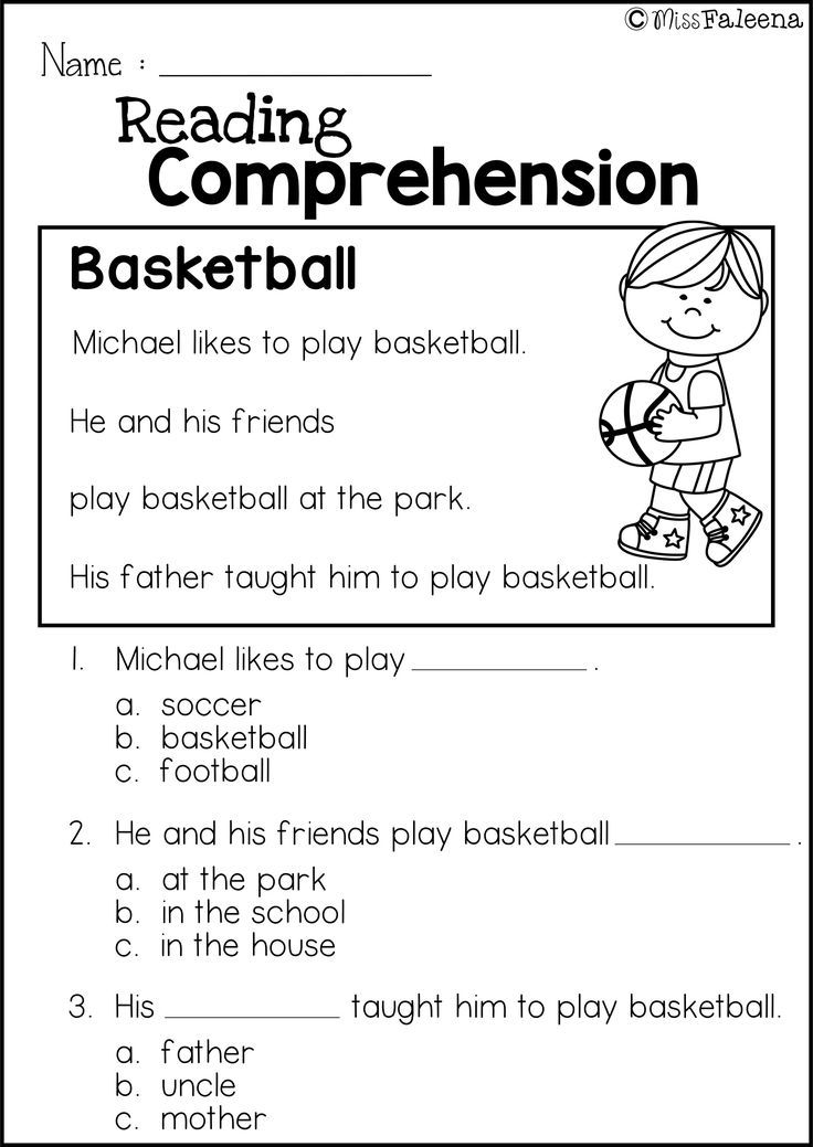 Free Reading Comprehension is great for Kindergarten or first ...