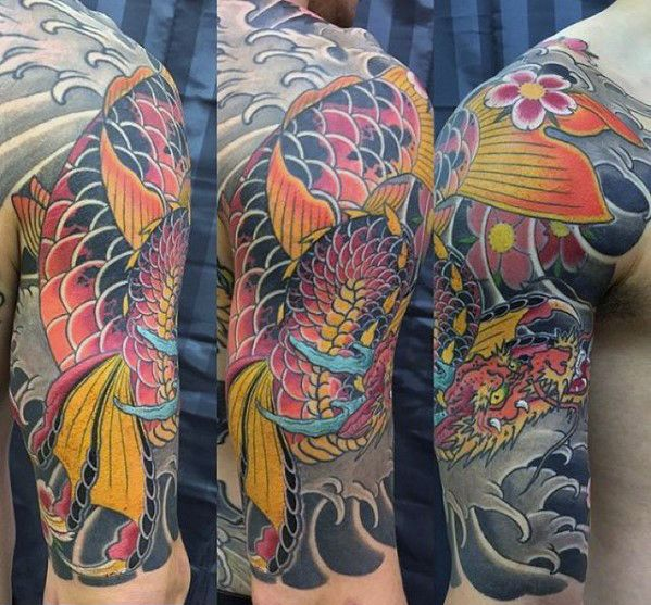 Koi Dragon Half Sleeve Tattoo Designs Archidev