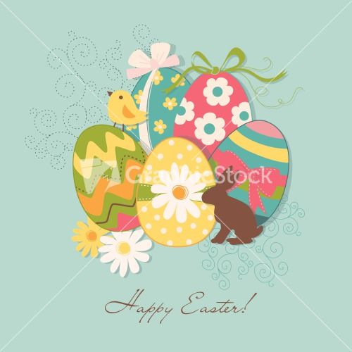 Template Of Beautiful Easter Greeting Card Stock Image  Vectorart