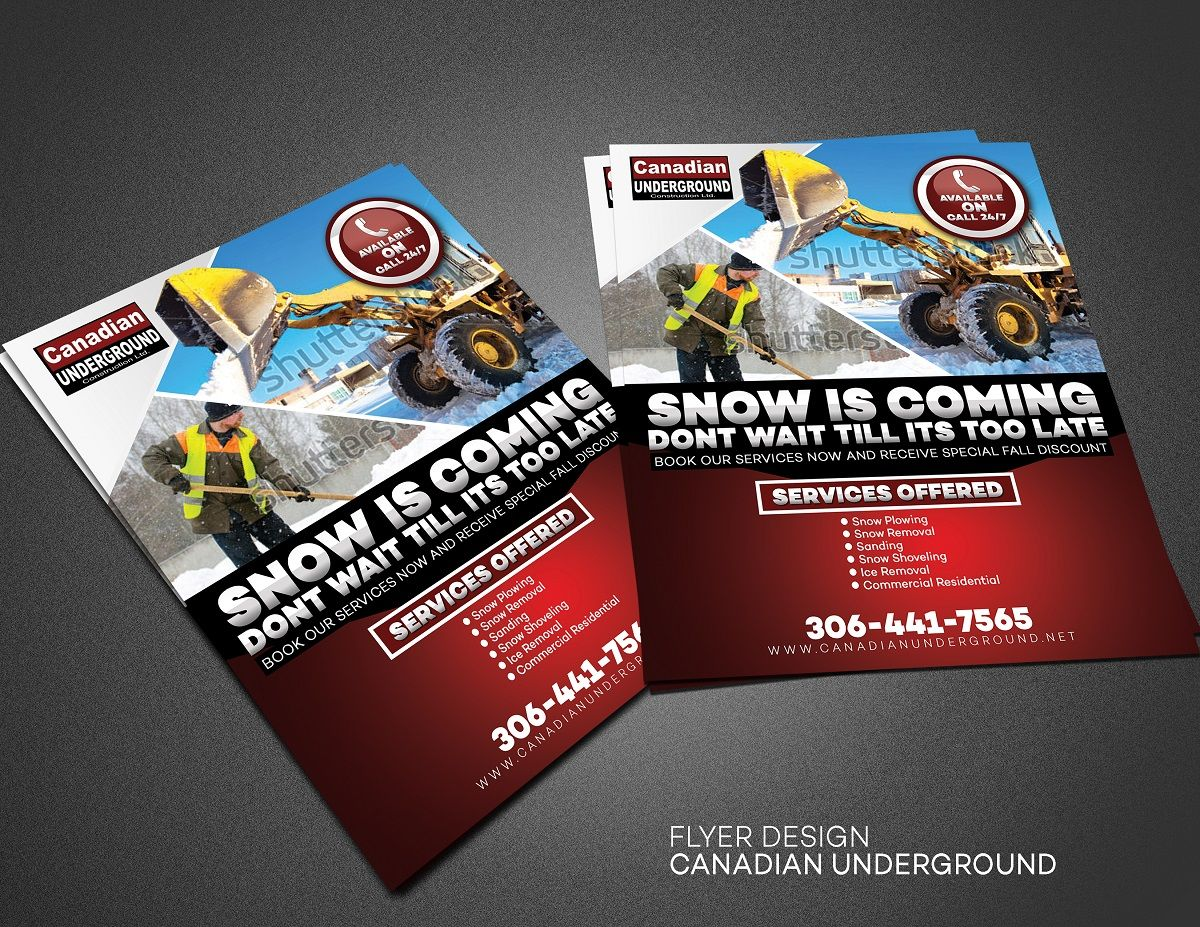 snow removal flyer flyer design by yganess looking for a snow removal flyerweb sitewwwcanadianundergroundnetcontact ryan power 306 441 7565name of
