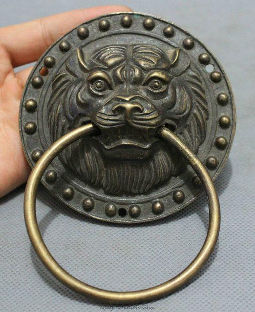 Bi002844中国ブロンズ銅彫風水ライオン ヘッド像宮殿マスク ドア ノッカー ドアノッカー ブロンズ 宮殿