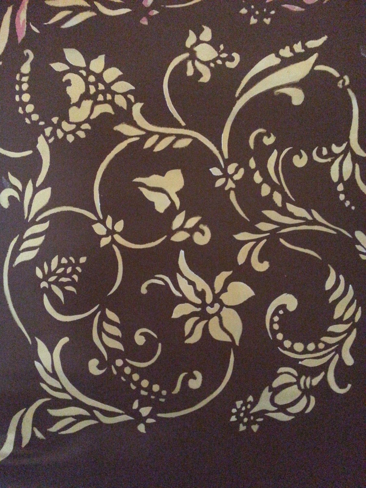 Wall Painting Flower Stencils With Charming Gold And Brown Color Design