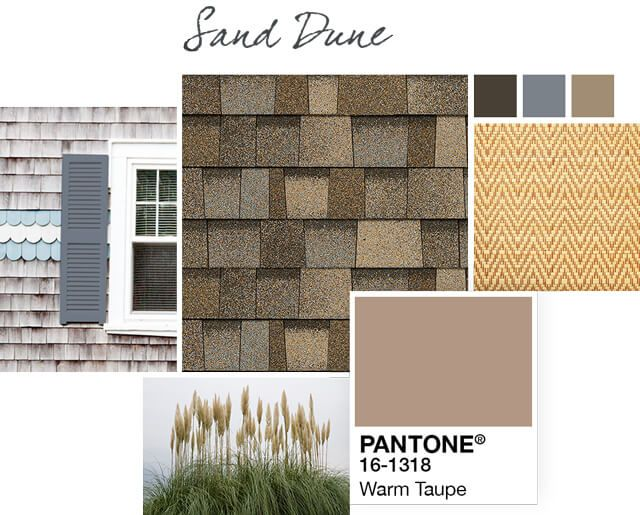 Sand Dune light brown shingle Style Boards show a collage ...