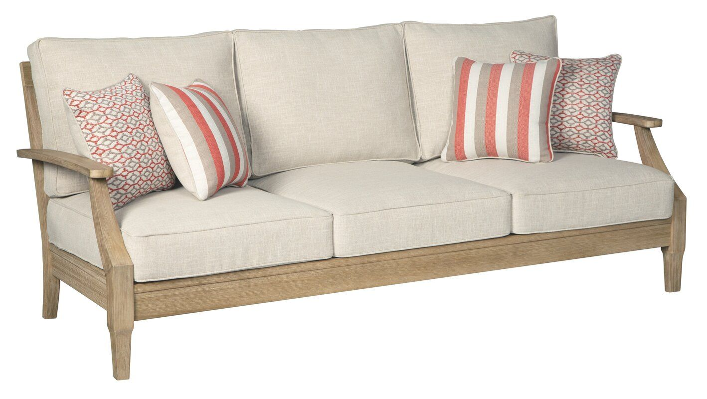 Anguiano Patio Sofa with Cushions | Cushions on sofa ... on Clare View Beige Outdoor Living Room id=26972