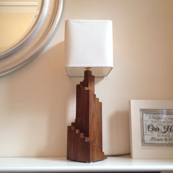 Hand Made Walnut Wood Art Deco Spiral Table Lamp Table Lamp Wood Art Deco Table Lamps Art Deco Table