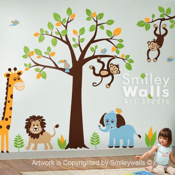 Safari Jungle Animals Monkey Giraffe Elephant Lion HUGE Wall Decal ...