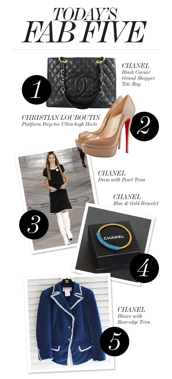Today's fab five: Chanel and Louboutin!  1. CHANEL TOTE BAG http://shop-hers.com/products/13587-peachestulip-chanel-tote 2. LOUBOUTIN PEEP TOE HEELS http://shop-hers.com/products/13657-suburbanstylenista-christian-louboutin-heels 3. CHANEL DRESS http://shop-hers.com/products/13615-sunnymunchie-chanel-dress 4. CHANEL BRACELET http://shop-hers.com/products/13608-eluxuryshop-chanel-bracelet 5. CHANEL BLAZER http://shop-hers.com/products/13616-sunnymunchie-chanel-blazer