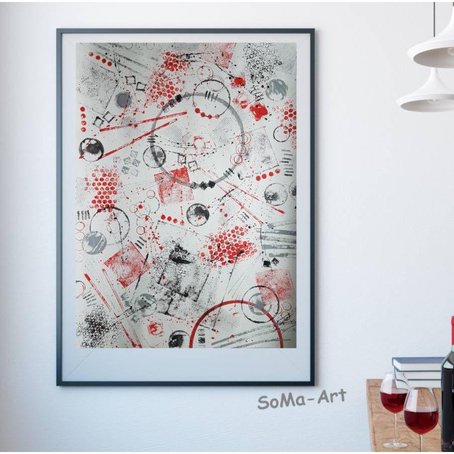 Acrylbild Auf Papier Mit Geometrischen Formen In Rot Und Schwarz