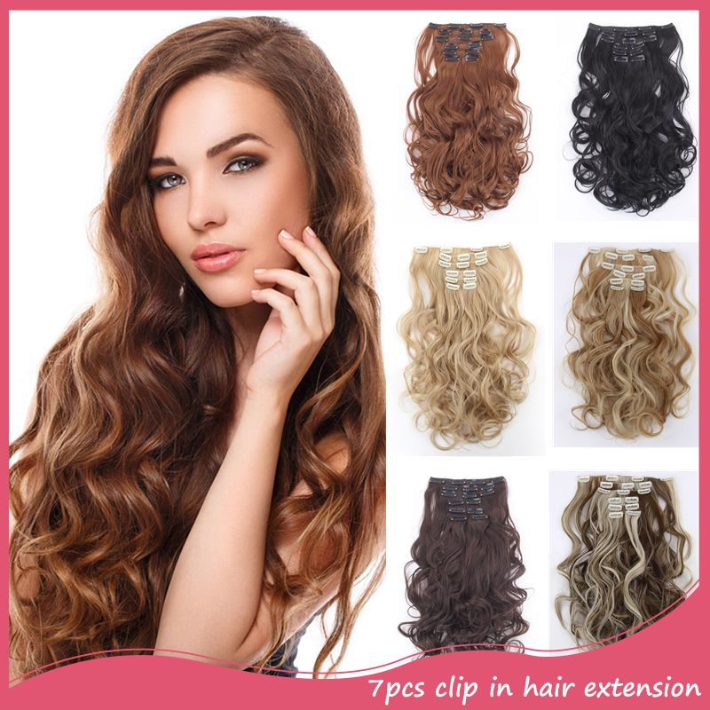 Hair extension 7pcsset clip in hair extensions 20inch 50cm curly hair extension 7pcsset clip in hair extensions 20inch 50cm curly wavy synthetic colored hair pmusecretfo Images