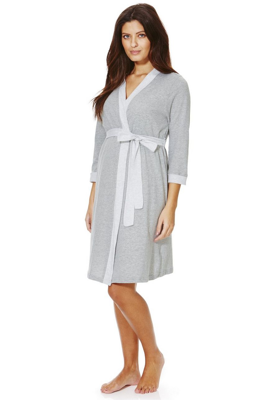 Clothing at Tesco | F&F Striped Maternity Dressing Gown > nightwear ...