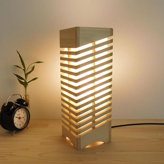 Wooden Table Lamp For Nightstand Handmade Wood Led Lamp Shade Reading Desk Lamps Wooden Gifts For Home Wood Desk Lamp Wooden Table Lamps Wood Lamps