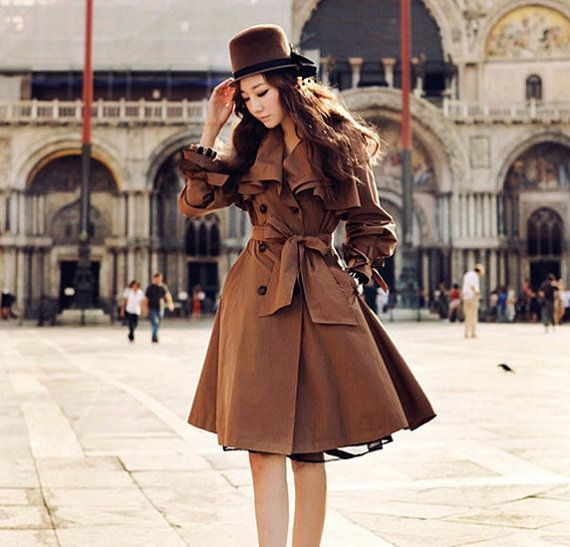 Women's brown Coat OL style suit Coat Long Coat Long jacket ...