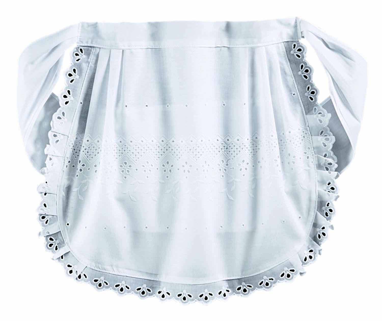 White eyelet apron - New Broderie Anglaise Waist Apron White