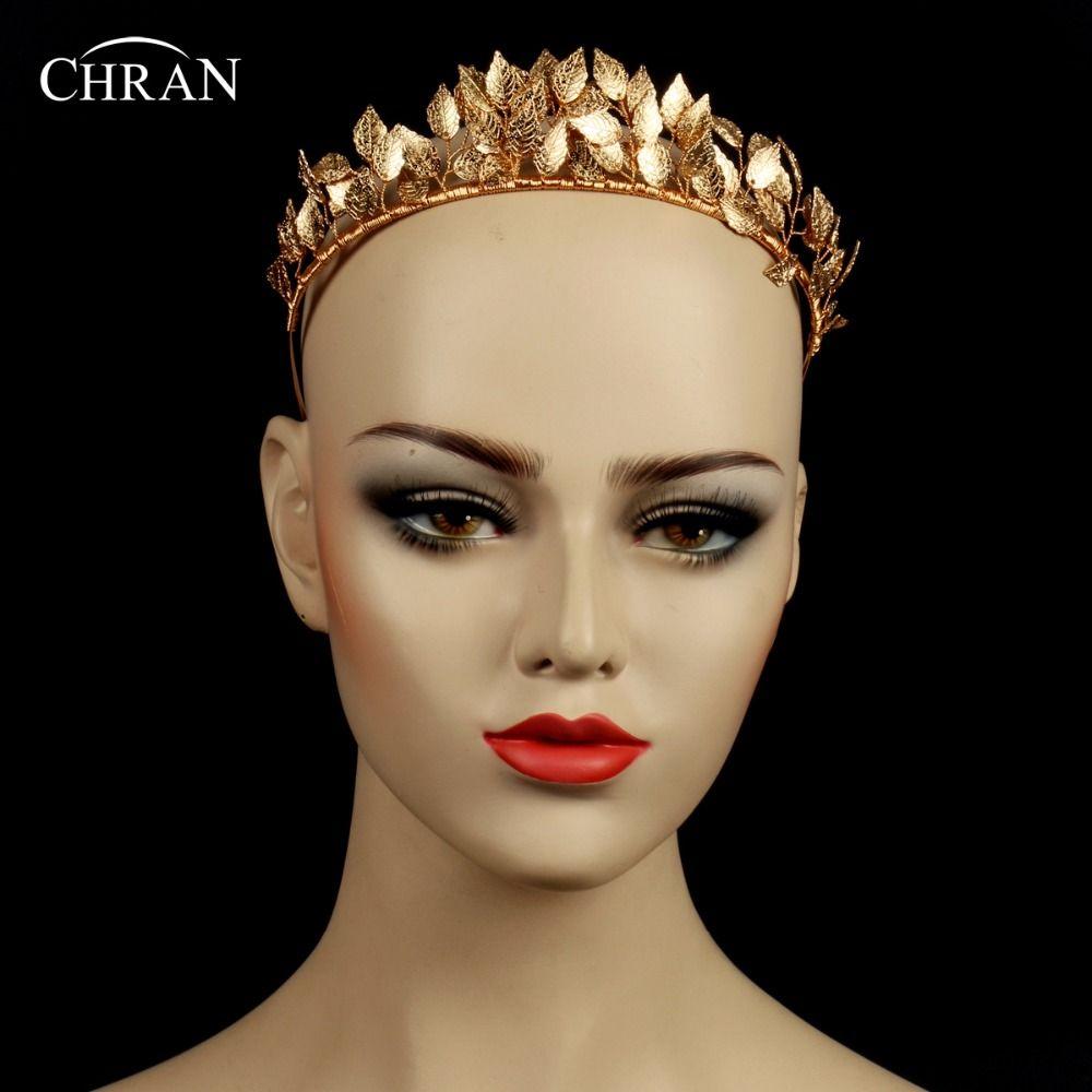Chran Diosa Griega de La Hoja de La Corona Reina Barroca de Oro Color  Corona Tiara Nupcial de La Boda Accesorios para el Cabello Diadema Postizo  CRH602 9c9442e53385