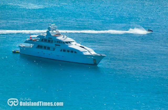 High season brings the mega yachts to St John bays. This one is in Round Bay off St John's East End.