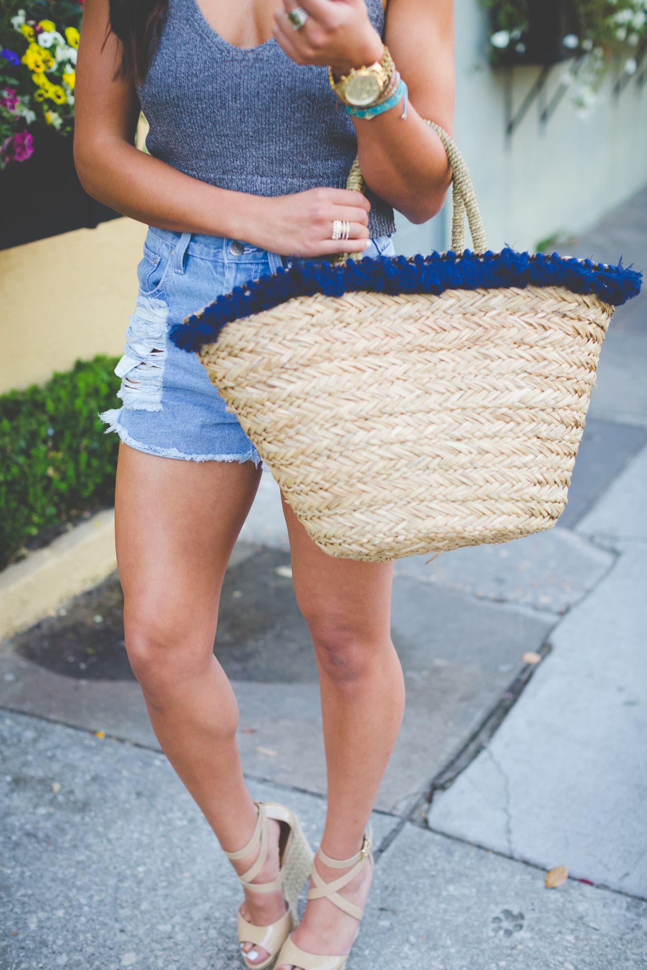 c458a78458 high waisted denim shorts, distressed cutoffs, tassel straw tote, sweater  crop tank, extra large acrylic monogram necklace, nude espadrille sandals  // grace ...