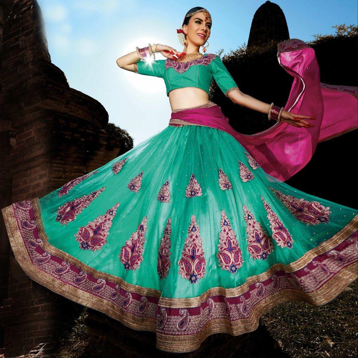 Buy Sea Green Rani Pink Patch & Embroidered Lehenga