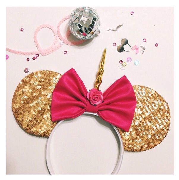 0a650d419326 Unicorn mouse ears @shophouseofmouse #unimouse #unicorn #mouseears #gold # sequins #bows #handmade #magical