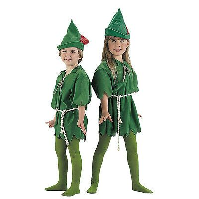 Childrens Kids Green Peter Pan Fancy Dress Costume Robin Hood Childs Outfit S