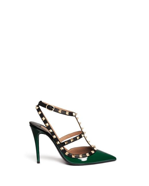 03bc7e05868 Women s Green  rockstud  Caged Patent Leather Pumps