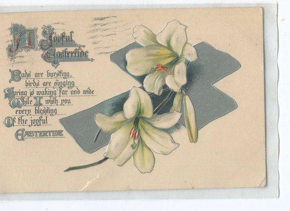 Easter Vintage  Postcard Pretty silver by sharonfostervintage, $1.50