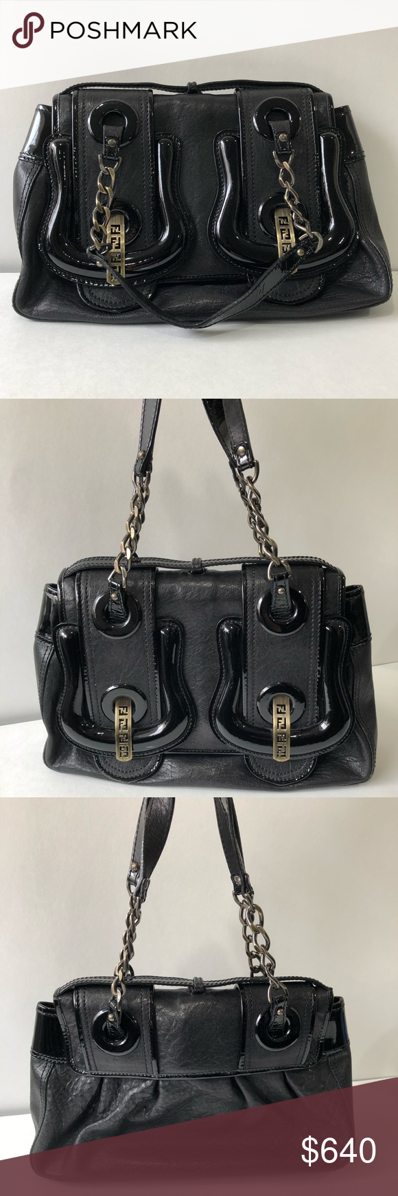 "9a0089415d Spotted while shopping on Poshmark  Fendi ""B"" Bag black leather shoulder bag !"