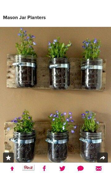 awesome idea using a palet instead mason jar herb on indoor herb garden diy wall mason jars id=94919